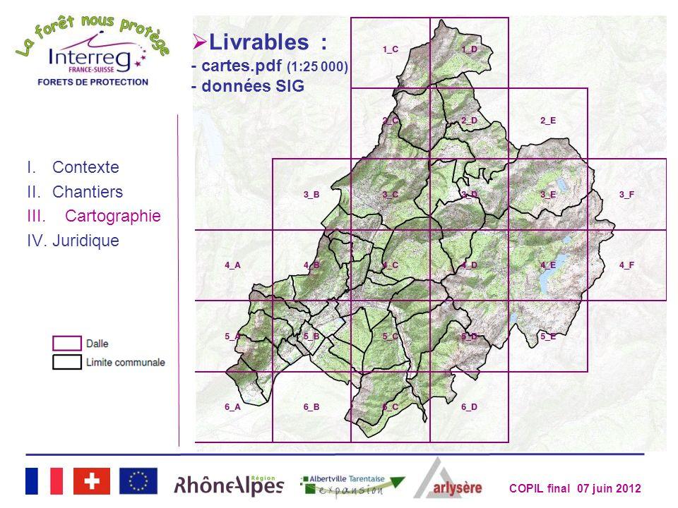 COPIL final 07 juin 2012 3 e étape : traitement des données I.Contexte II.Chantiers III.Cartographie IV.Juridique Livrables : - cartes.pdf (1:25 000)