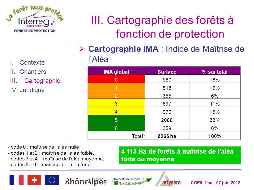 COPIL final 07 juin 2012 III.Cartographie des forêts à fonction de protection I.Contexte II.Chantiers III.Cartographie IV.Juridique Cartographie IMA :