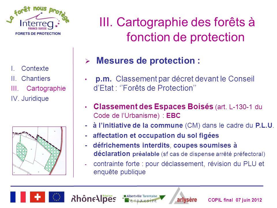 COPIL final 07 juin 2012 III.Cartographie des forêts à fonction de protection I.Contexte II.Chantiers III.Cartographie IV.Juridique Mesures de protect