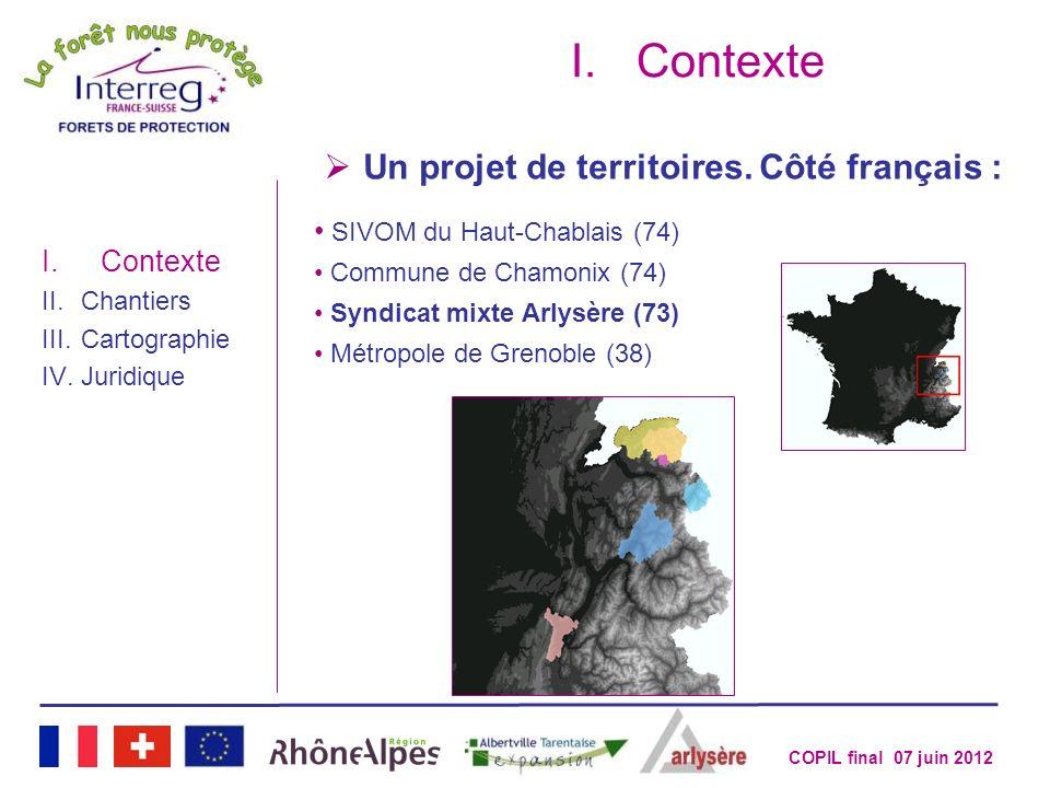 COPIL final 07 juin 2012 Un projet de territoires. Côté français : I.Contexte SIVOM du Haut-Chablais (74) Commune de Chamonix (74) Syndicat mixte Arly