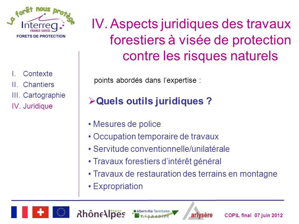 COPIL final 07 juin 2012 IV.Aspects juridiques des travaux forestiers à visée de protection contre les risques naturels I.Contexte II.Chantiers III.Ca