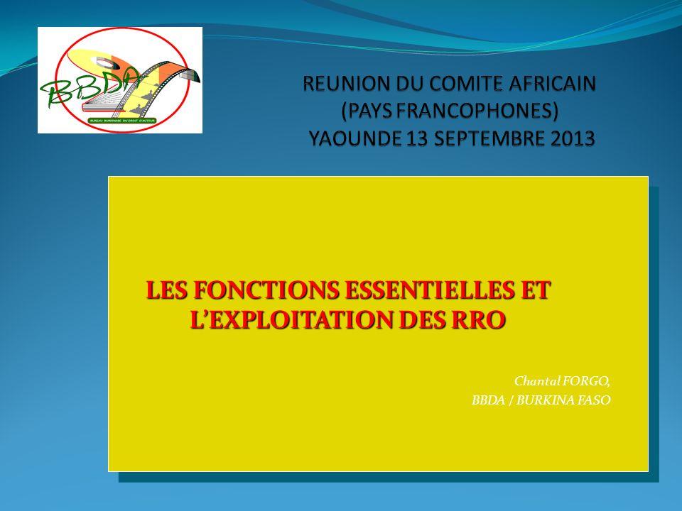 LES FONCTIONS ESSENTIELLES ET LEXPLOITATION DES RRO Chantal FORGO, BBDA / BURKINA FASO LES FONCTIONS ESSENTIELLES ET LEXPLOITATION DES RRO Chantal FOR