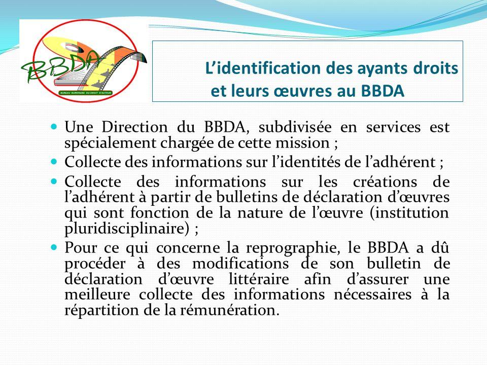 Lidentification des ayants droits et leurs œuvres au BBDA Une Direction du BBDA, subdivisée en services est spécialement chargée de cette mission ; Co
