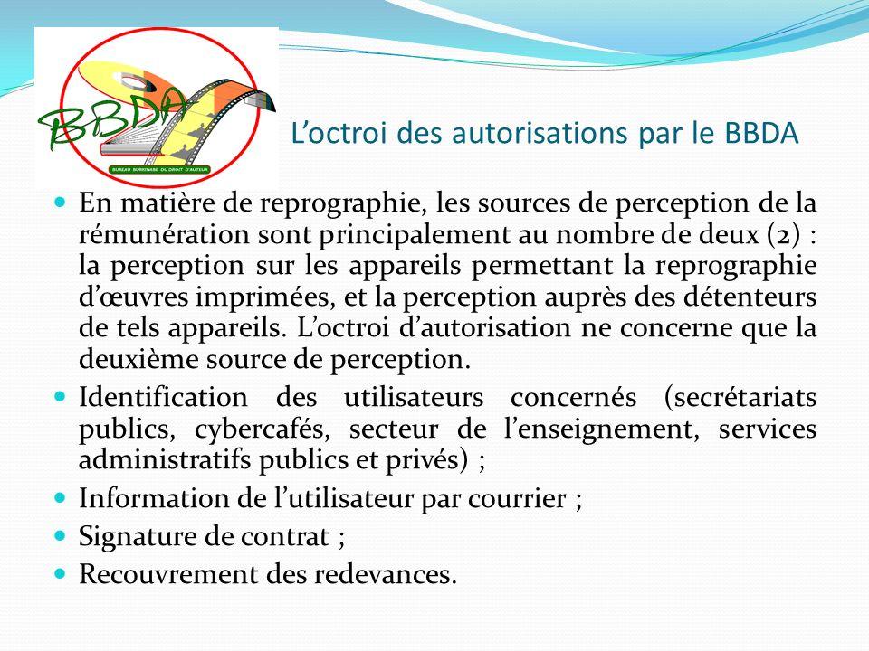 Loctroi des autorisations par le BBDA En matière de reprographie, les sources de perception de la rémunération sont principalement au nombre de deux (
