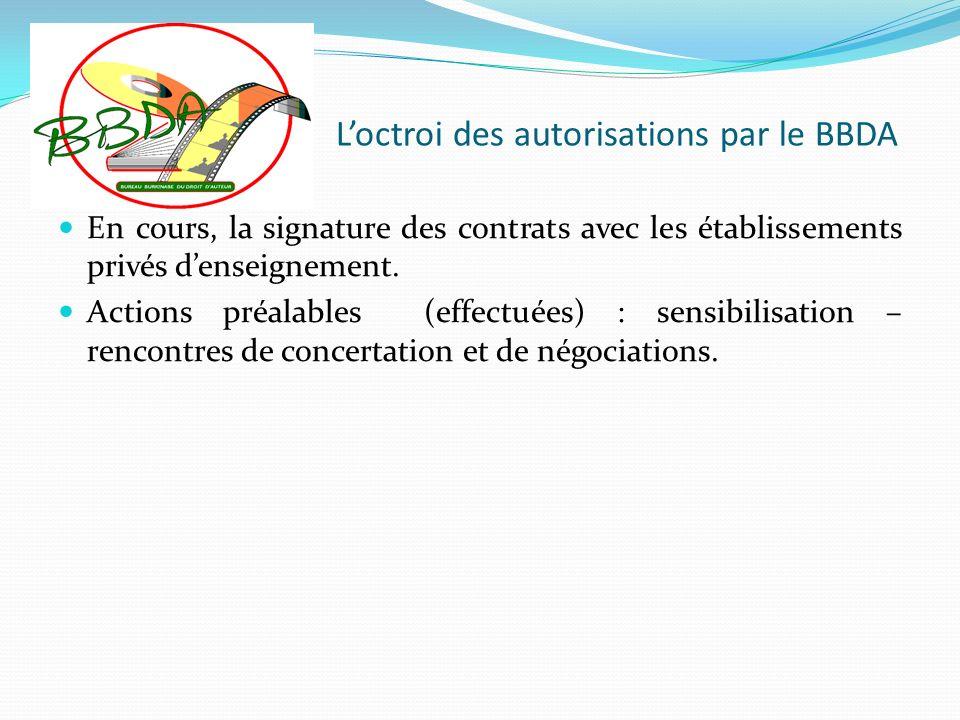 Loctroi des autorisations par le BBDA En cours, la signature des contrats avec les établissements privés denseignement. Actions préalables (effectuées