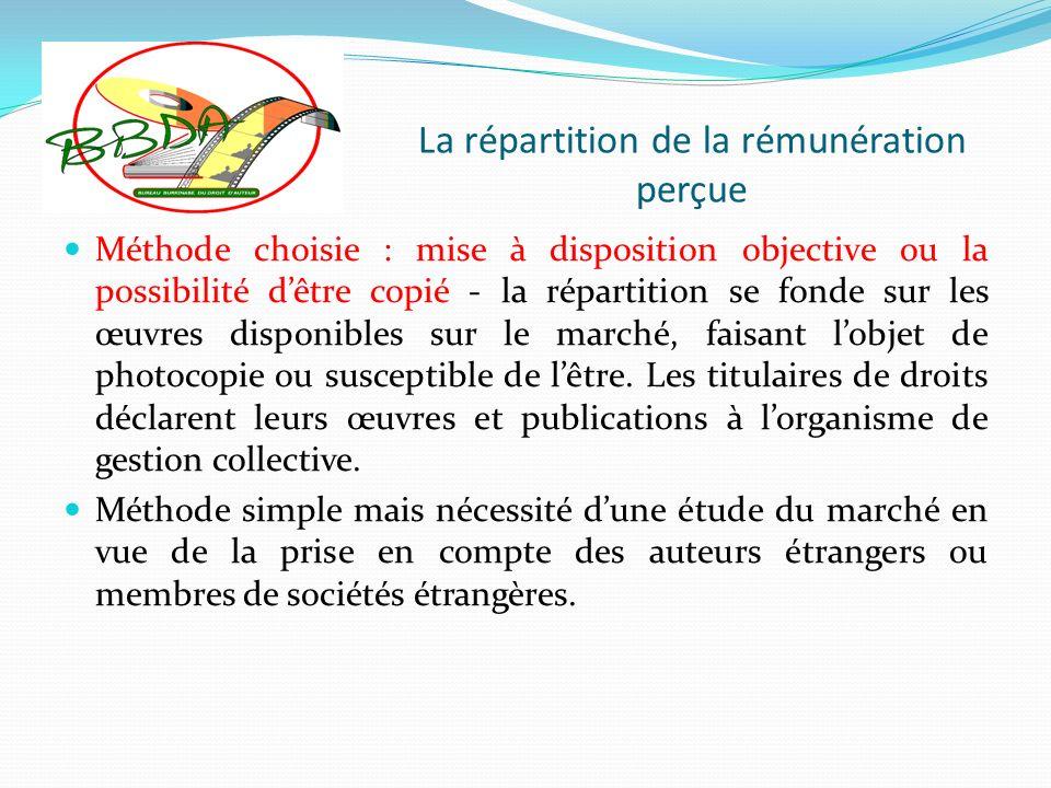 La répartition de la rémunération perçue Méthode choisie : mise à disposition objective ou la possibilité dêtre copié - la répartition se fonde sur le