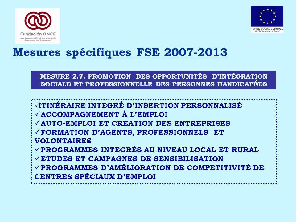 Mesures spécifiques FSE 2007-2013 MESURE 2.7. PROMOTION DES OPPORTUNITÉS DINTÉGRATION SOCIALE ET PROFESSIONNELLE DES PERSONNES HANDICAPÉES ITINÉRAIRE