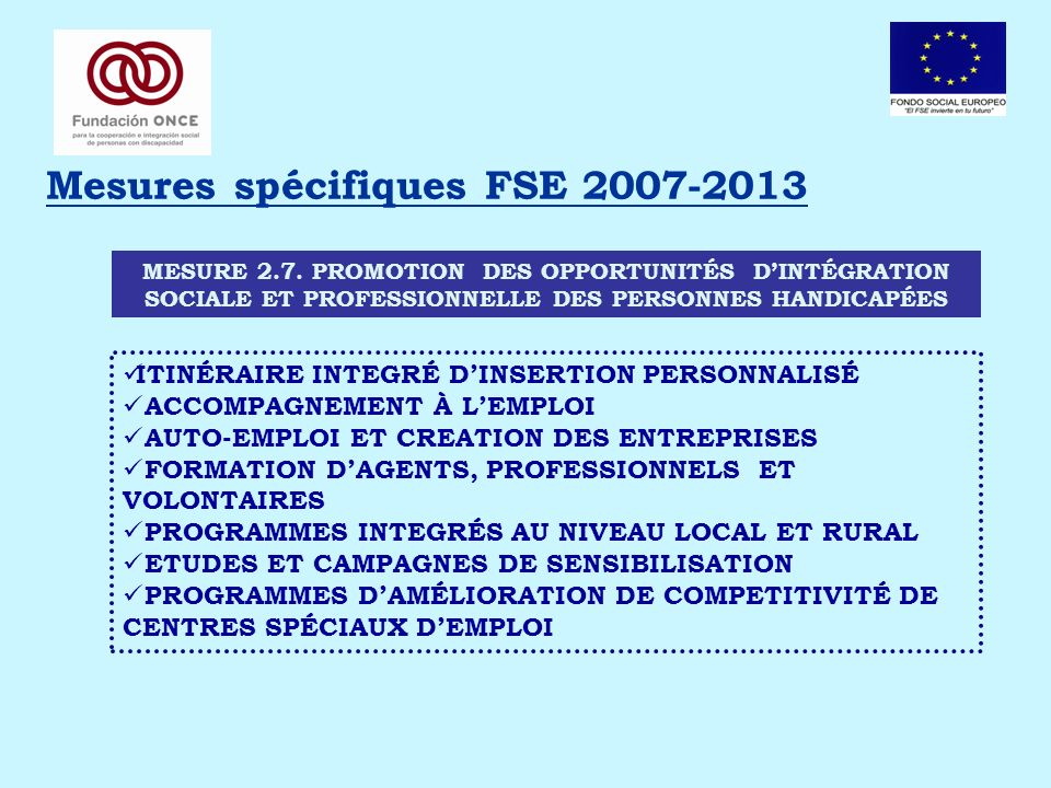 Mesures spécifiques FSE 2007-2013 MESURE 2.7.