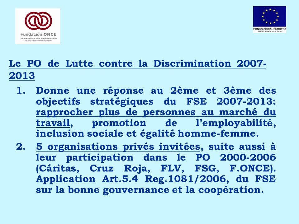 Le PO de Lutte contre la Discrimination 2007- 2013 1.Donne une réponse au 2ème et 3ème des objectifs stratégiques du FSE 2007-2013: rapprocher plus de