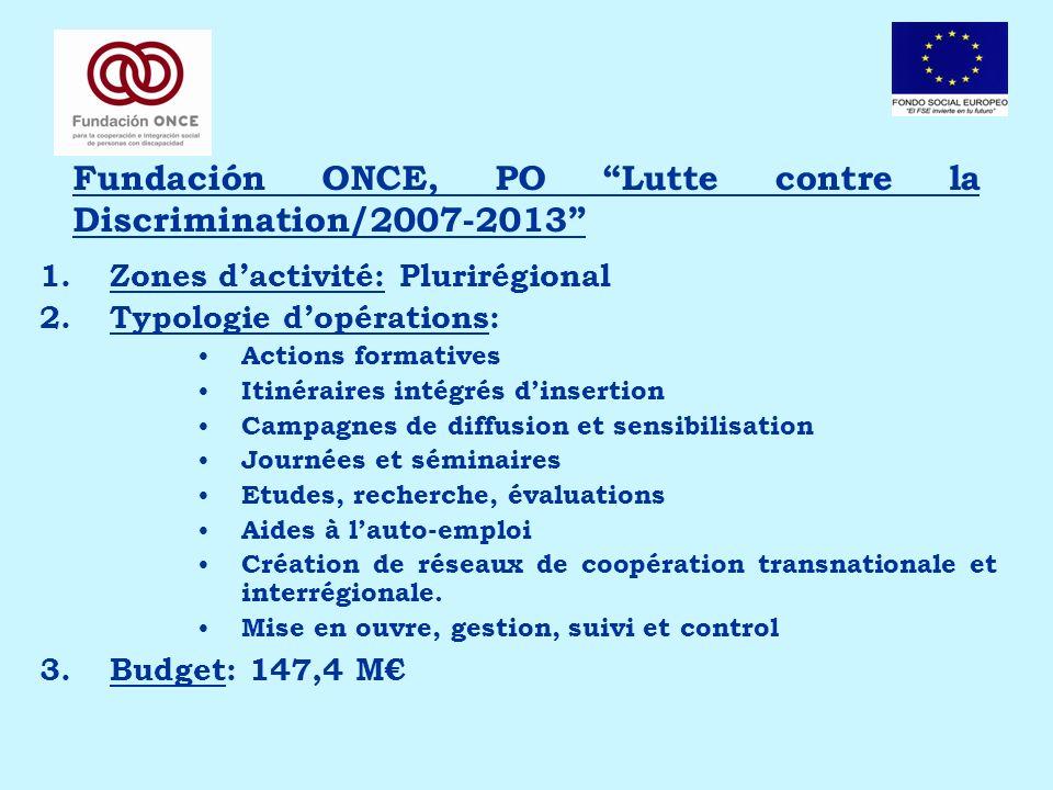 Fundación ONCE, PO Lutte contre la Discrimination/2007-2013 1.Zones dactivité: Plurirégional 2.Typologie dopérations: Actions formatives Itinéraires i