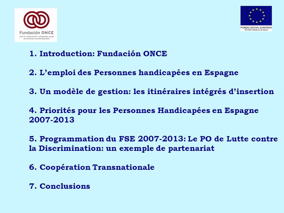 1. Introduction: Fundación ONCE 2. Lemploi des Personnes handicapées en Espagne 3. Un modèle de gestion: les itinéraires intégrés dinsertion 4. Priori