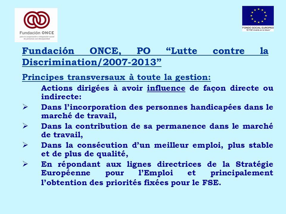 Fundación ONCE, PO Lutte contre la Discrimination/2007-2013 Principes transversaux à toute la gestion: Actions dirigées à avoir influence de façon dir
