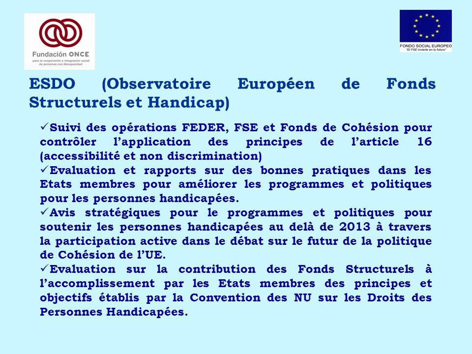ESDO (Observatoire Européen de Fonds Structurels et Handicap) Suivi des opérations FEDER, FSE et Fonds de Cohésion pour contrôler lapplication des pri