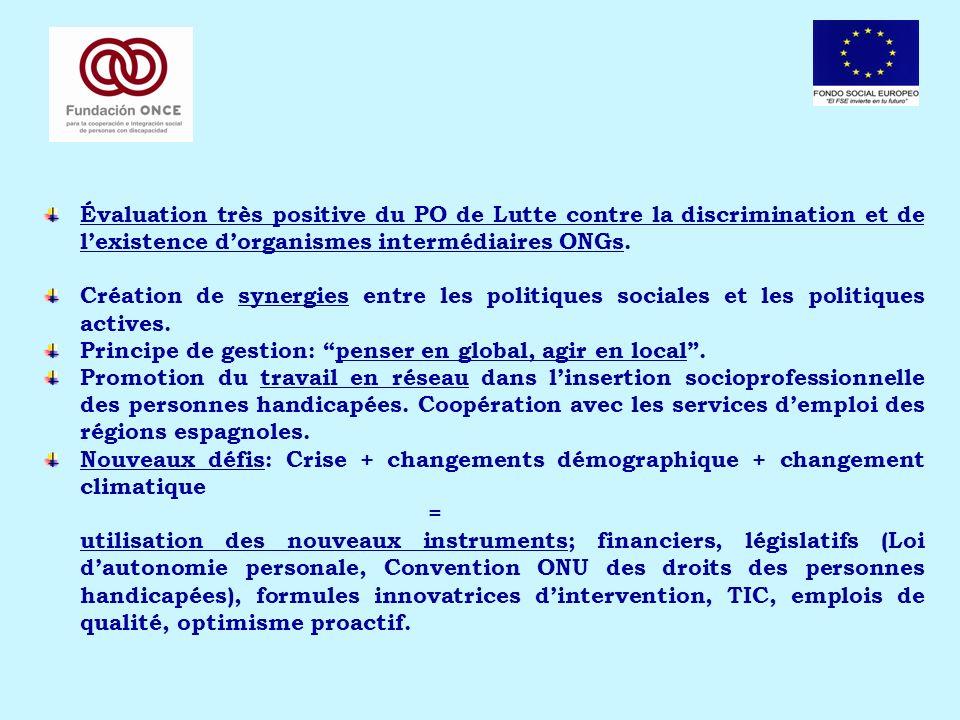 Évaluation très positive du PO de Lutte contre la discrimination et de lexistence dorganismes intermédiaires ONGs. Création de synergies entre les pol