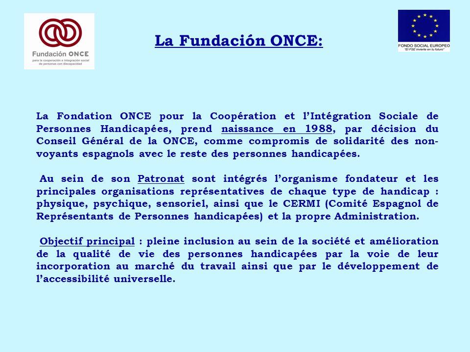 La Fundación ONCE: La Fondation ONCE pour la Coopération et lIntégration Sociale de Personnes Handicapées, prend naissance en 1988, par décision du Conseil Général de la ONCE, comme compromis de solidarité des non- voyants espagnols avec le reste des personnes handicapées.