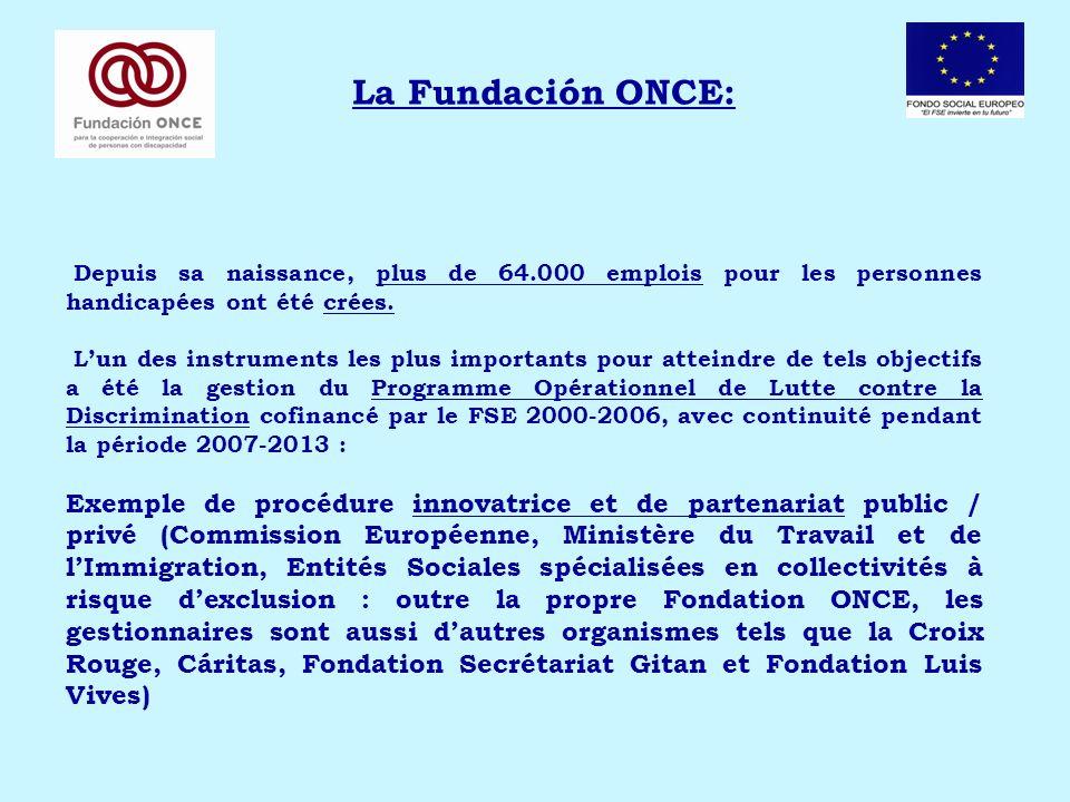La Fundación ONCE: Depuis sa naissance, plus de 64.000 emplois pour les personnes handicapées ont été crées. Lun des instruments les plus importants p