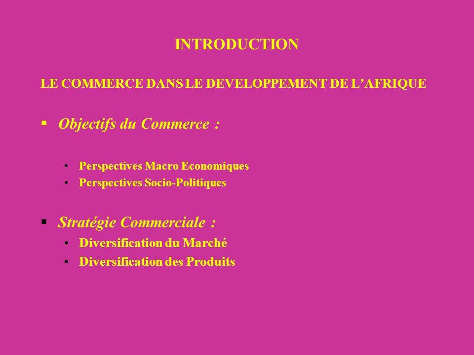 INTRODUCTION LE COMMERCE DANS LE DEVELOPPEMENT DE LAFRIQUE Objectifs du Commerce : Perspectives Macro Economiques Perspectives Socio-Politiques Stratégie Commerciale : Diversification du Marché Diversification des Produits