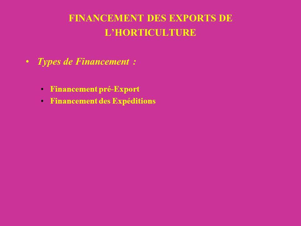 FINANCEMENT DES EXPORTS DE LHORTICULTURE Types de Financement : Financement pré-Export Financement des Expéditions