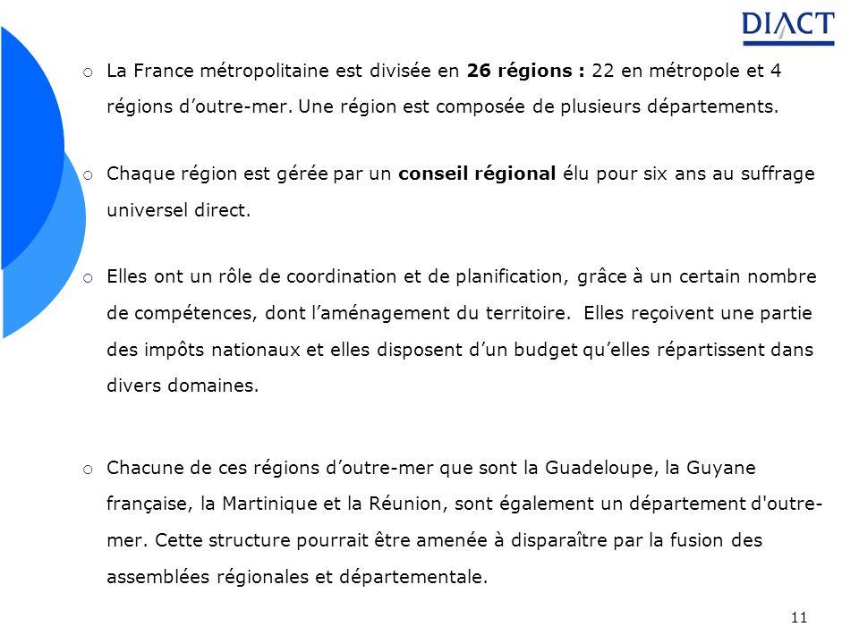 11 La France métropolitaine est divisée en 26 régions : 22 en métropole et 4 régions doutre-mer. Une région est composée de plusieurs départements. Ch