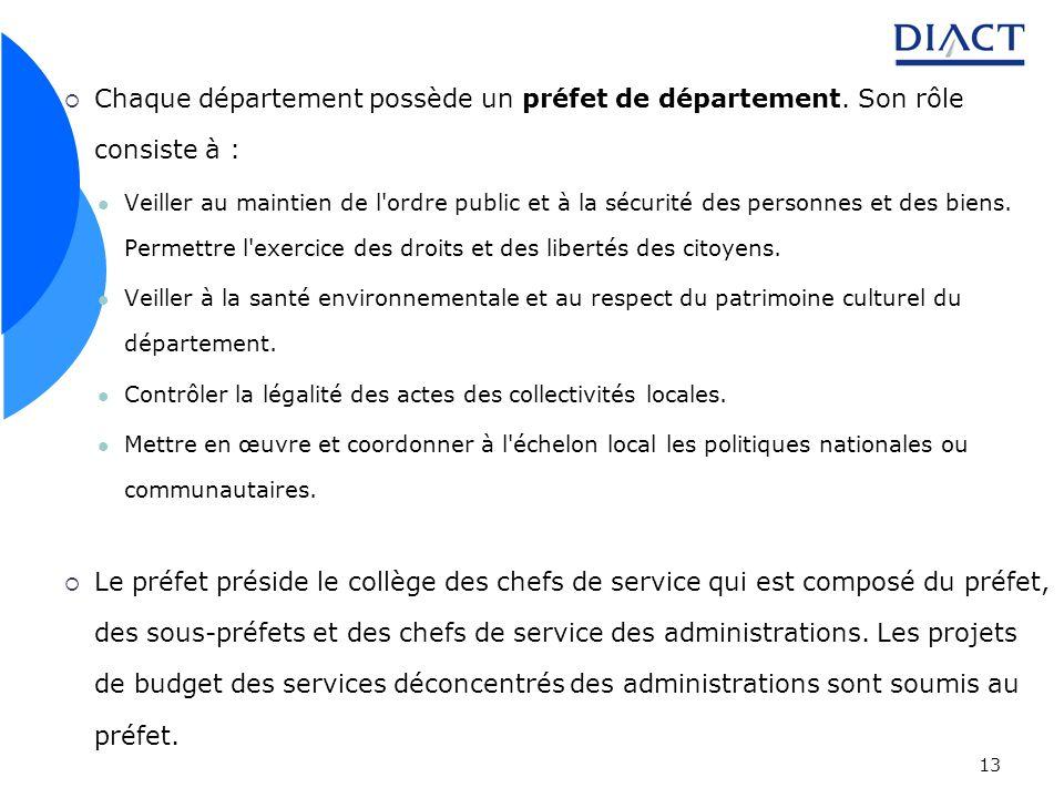 13 Chaque département possède un préfet de département. Son rôle consiste à : Veiller au maintien de l'ordre public et à la sécurité des personnes et