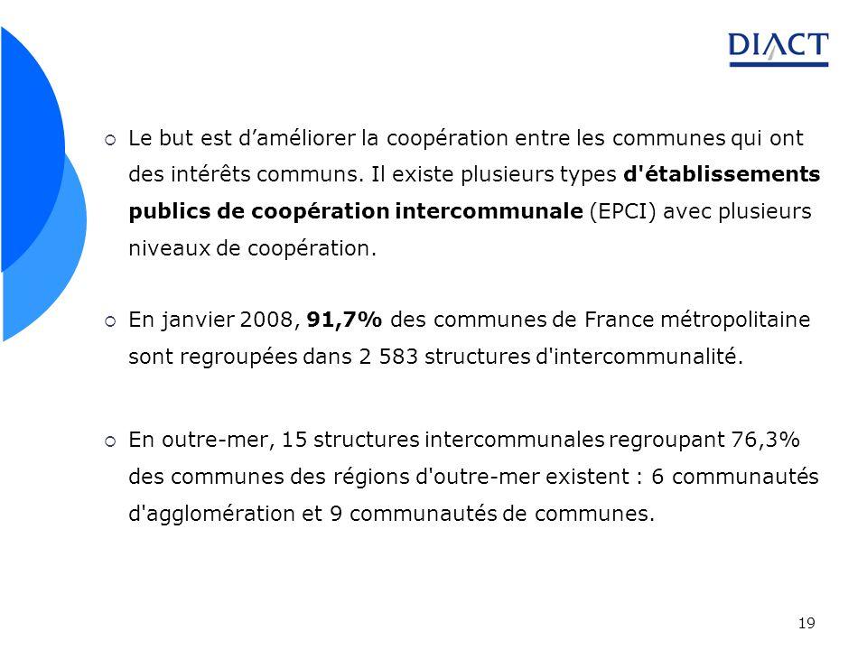 19 Le but est daméliorer la coopération entre les communes qui ont des intérêts communs. Il existe plusieurs types d'établissements publics de coopéra
