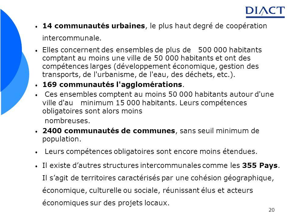 20 14 communautés urbaines, le plus haut degré de coopération intercommunale. Elles concernent des ensembles de plus de 500 000 habitants comptant au