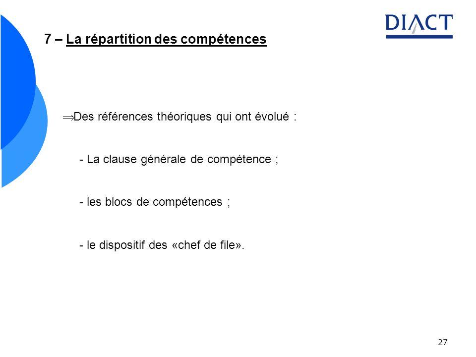 27 7 – La répartition des compétences Des références théoriques qui ont évolué : - La clause générale de compétence ; - les blocs de compétences ; - le dispositif des «chef de file».