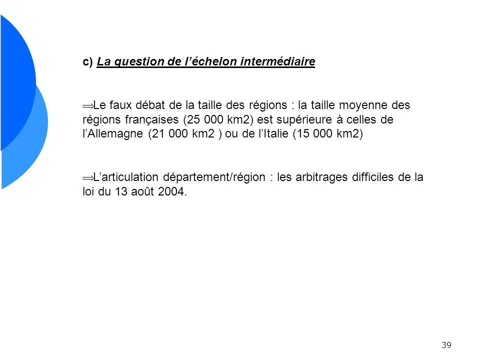39 c) La question de léchelon intermédiaire Le faux débat de la taille des régions : la taille moyenne des régions françaises (25 000 km2) est supérieure à celles de lAllemagne (21 000 km2 ) ou de lItalie (15 000 km2) Larticulation département/région : les arbitrages difficiles de la loi du 13 août 2004.