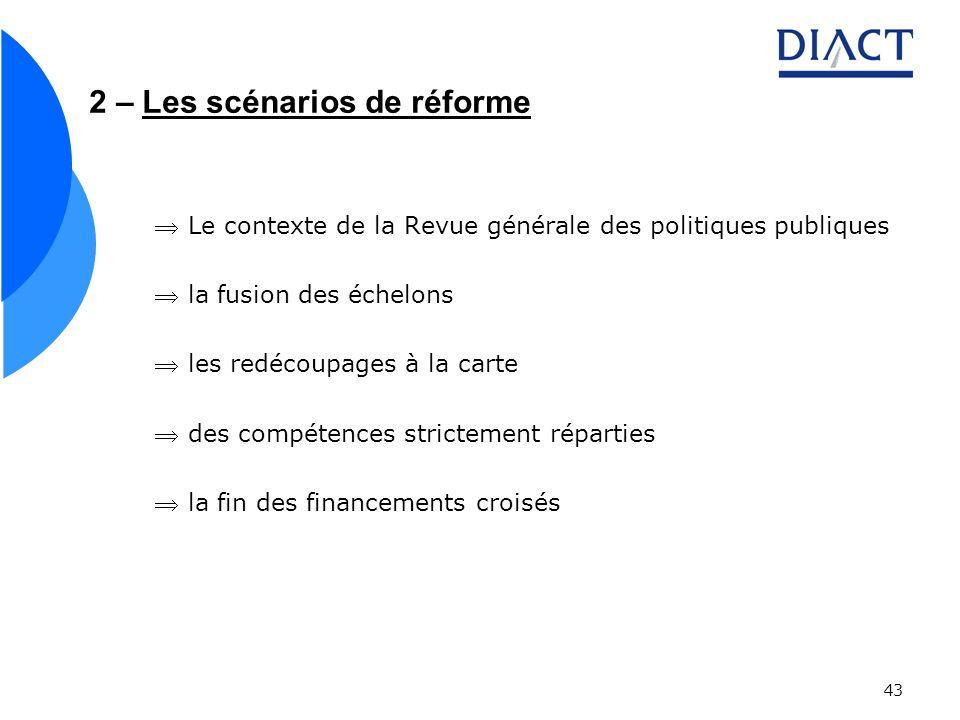 43 2 – Les scénarios de réforme Le contexte de la Revue générale des politiques publiques la fusion des échelons les redécoupages à la carte des compé