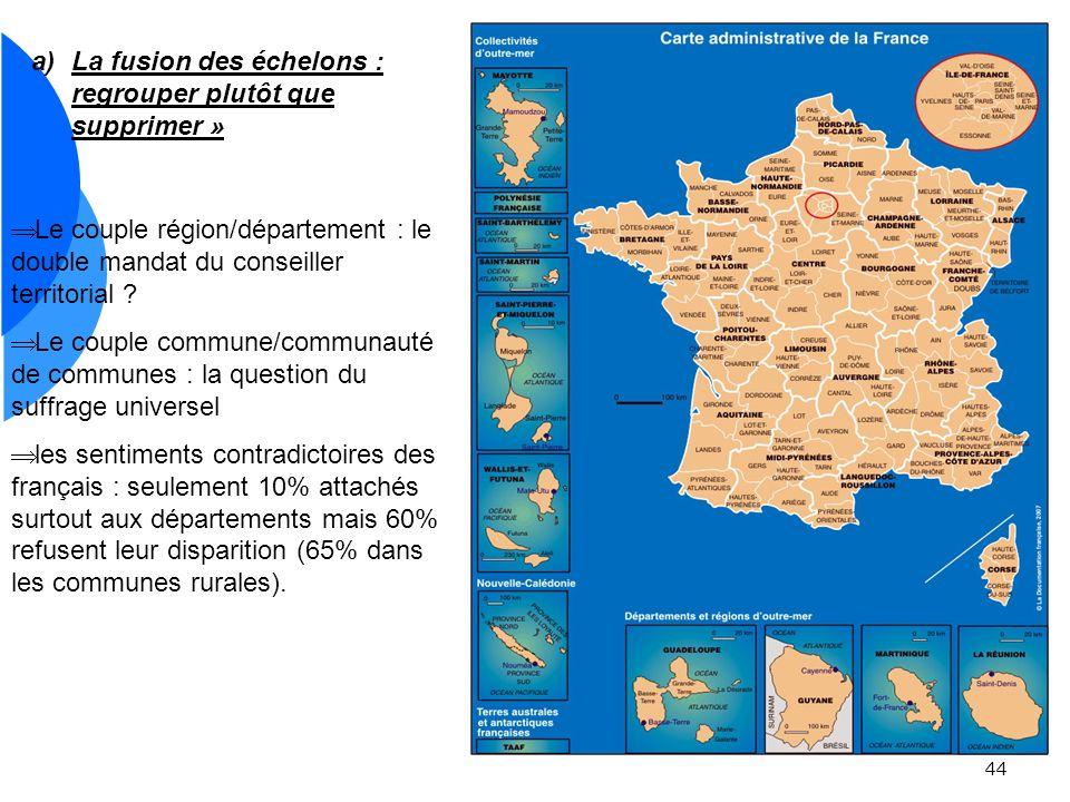 44 a)La fusion des échelons : regrouper plutôt que supprimer » Le couple région/département : le double mandat du conseiller territorial .