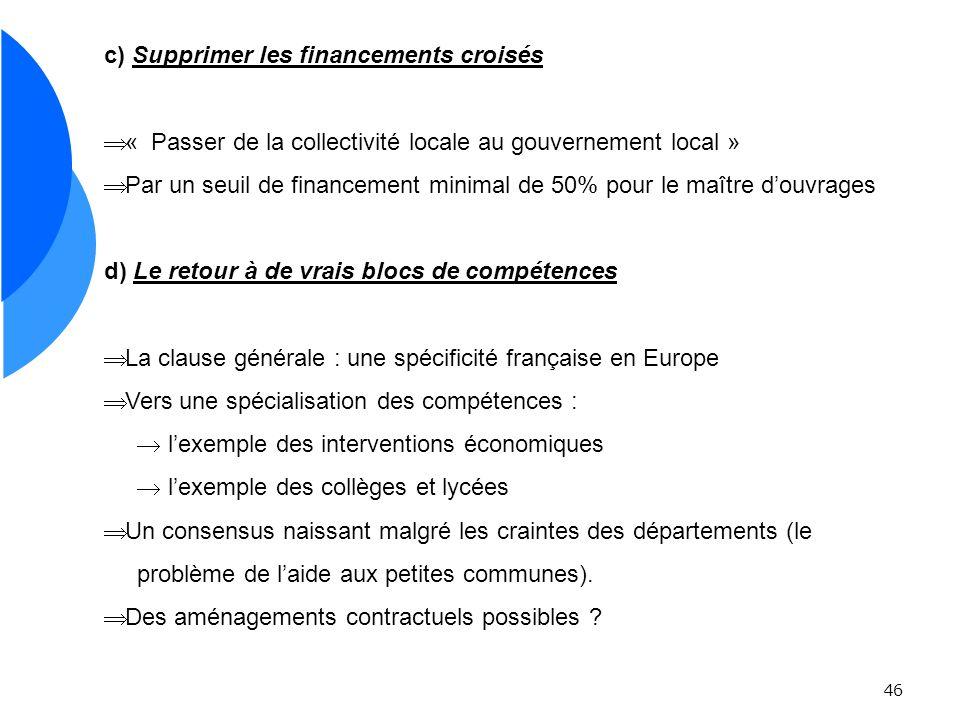 46 c) Supprimer les financements croisés « Passer de la collectivité locale au gouvernement local » Par un seuil de financement minimal de 50% pour le