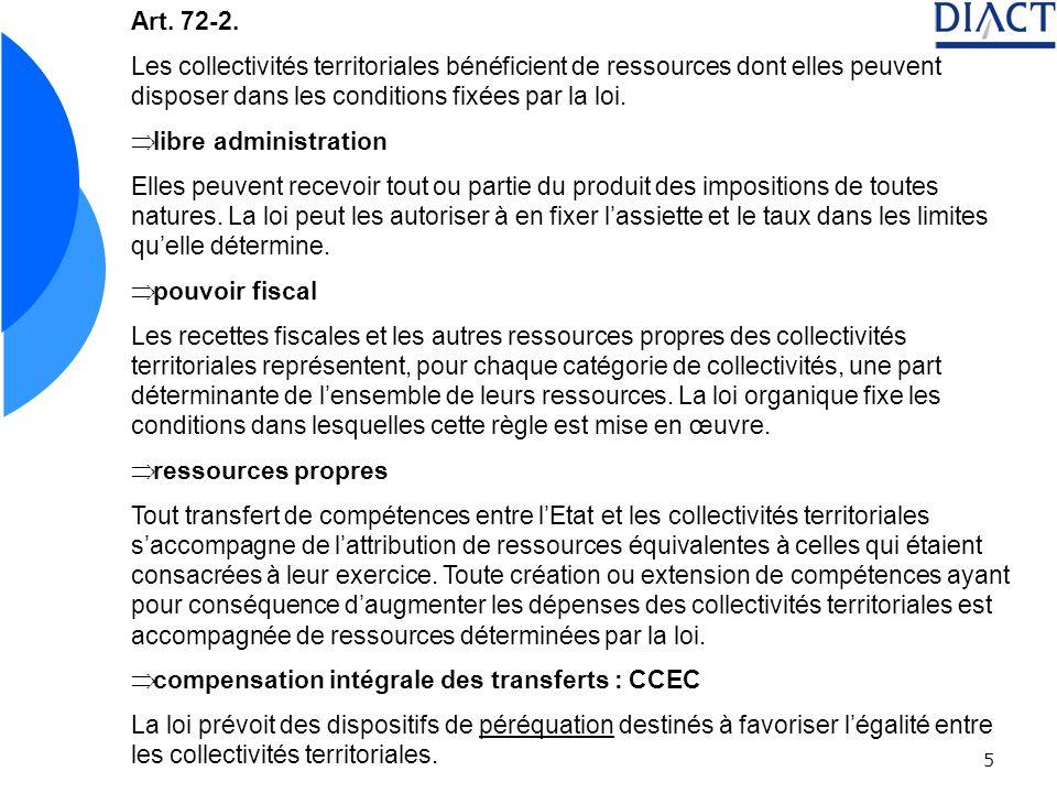 5 Art. 72-2. Les collectivités territoriales bénéficient de ressources dont elles peuvent disposer dans les conditions fixées par la loi. libre admini