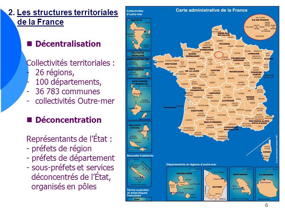 6 2. Les structures territoriales de la France Décentralisation Collectivités territoriales : -26 régions, -100 départements, -36 783 communes -collec