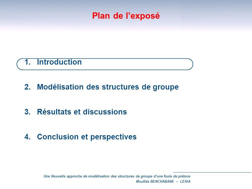 Une Nouvelle approche de modélisation des structures de groupe dune foule de piétons Moufida BENCHABANE – LESIA Plan de lexposé 1.Introduction 2.Modél