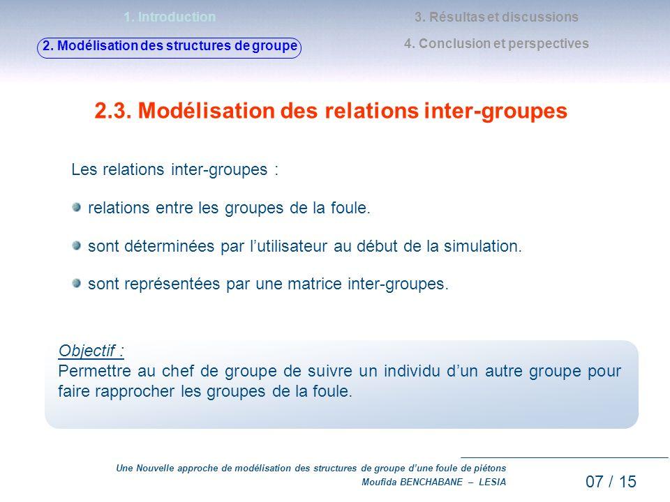 Une Nouvelle approche de modélisation des structures de groupe dune foule de piétons Moufida BENCHABANE – LESIA 2.3. Modélisation des relations inter-