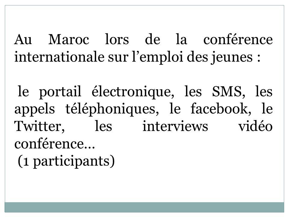 Au Maroc lors de la conférence internationale sur lemploi des jeunes : le portail électronique, les SMS, les appels téléphoniques, le facebook, le Twi