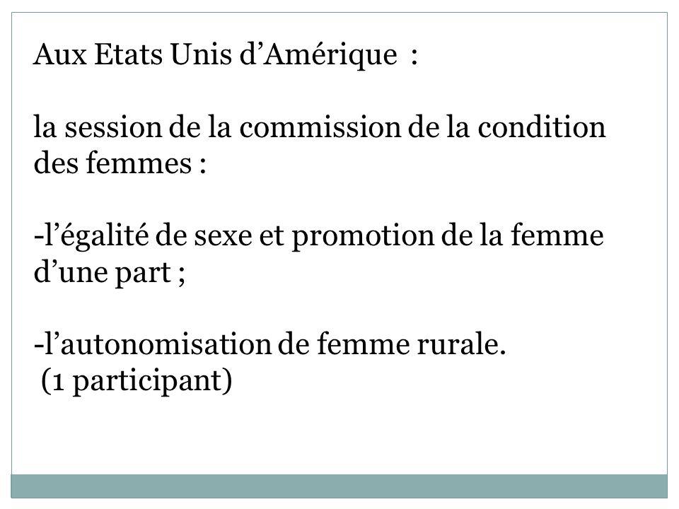 Aux Etats Unis dAmérique : la session de la commission de la condition des femmes : -légalité de sexe et promotion de la femme dune part ; -lautonomisation de femme rurale.