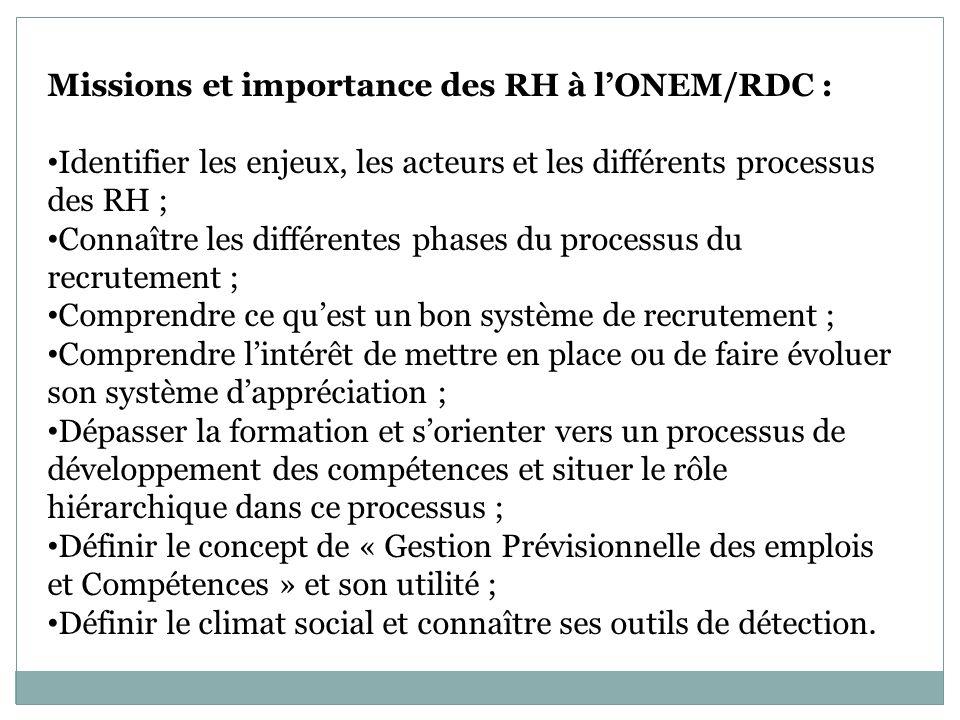 Missions et importance des RH à lONEM/RDC : Identifier les enjeux, les acteurs et les différents processus des RH ; Connaître les différentes phases du processus du recrutement ; Comprendre ce quest un bon système de recrutement ; Comprendre lintérêt de mettre en place ou de faire évoluer son système dappréciation ; Dépasser la formation et sorienter vers un processus de développement des compétences et situer le rôle hiérarchique dans ce processus ; Définir le concept de « Gestion Prévisionnelle des emplois et Compétences » et son utilité ; Définir le climat social et connaître ses outils de détection.