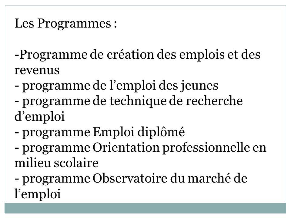 Les Programmes : -Programme de création des emplois et des revenus - programme de lemploi des jeunes - programme de technique de recherche demploi - programme Emploi diplômé - programme Orientation professionnelle en milieu scolaire - programme Observatoire du marché de lemploi