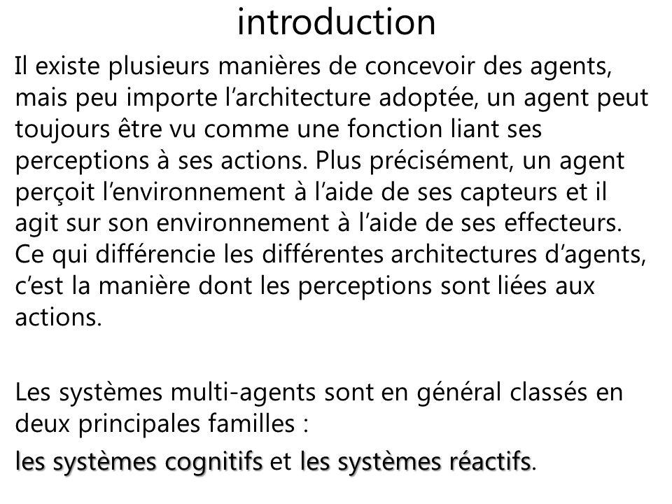 introduction Il existe plusieurs manières de concevoir des agents, mais peu importe larchitecture adoptée, un agent peut toujours être vu comme une fo