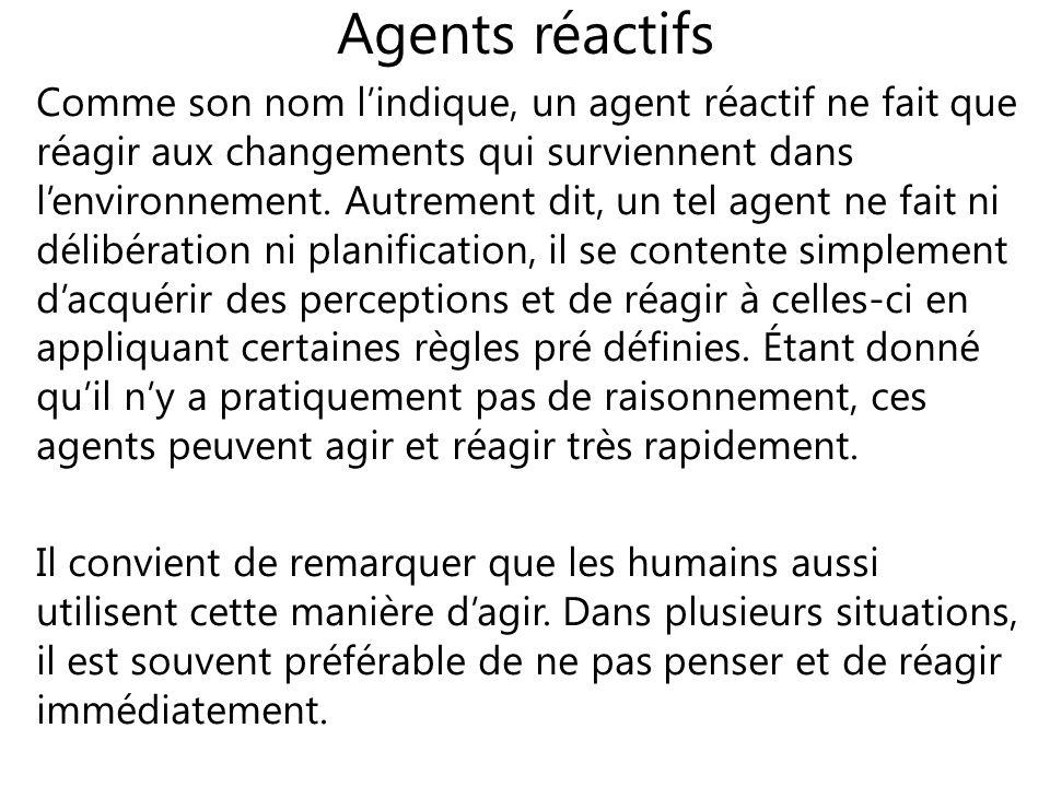 Agents réactifs Comme son nom lindique, un agent réactif ne fait que réagir aux changements qui surviennent dans lenvironnement. Autrement dit, un tel