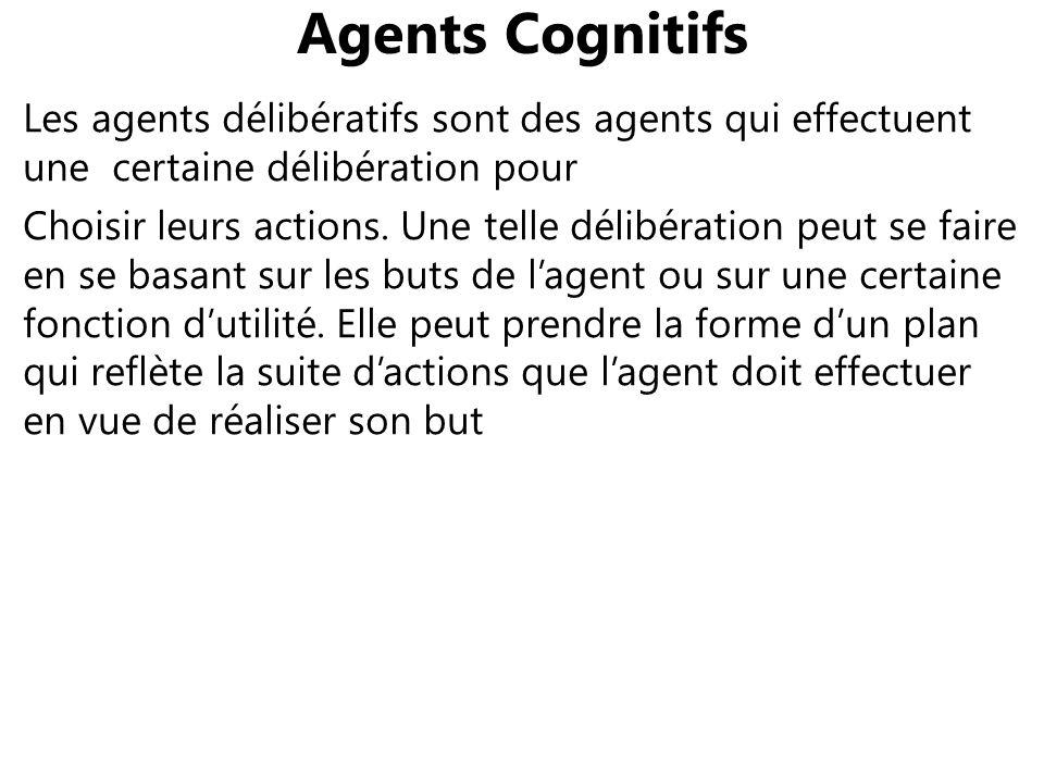 Agents Cognitifs Les agents délibératifs sont des agents qui effectuent une certaine délibération pour Choisir leurs actions. Une telle délibération p