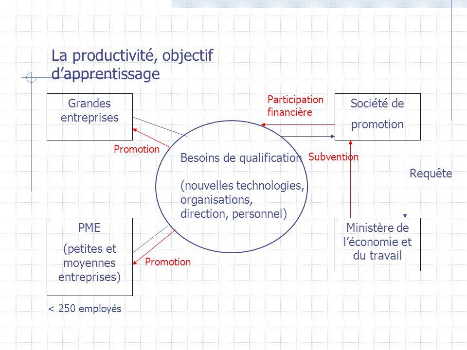 La productivité, objectif dapprentissage Grandes entreprises PME (petites et moyennes entreprises) Société de promotion Ministère de léconomie et du t