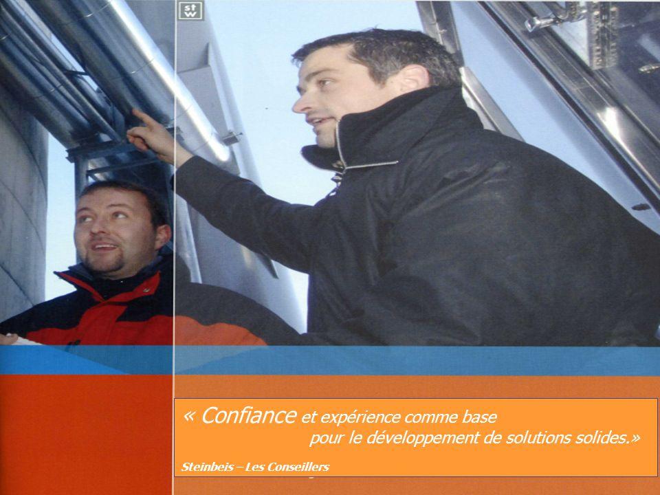 « Confiance et expérience comme base pour le développement de solutions solides.» Steinbeis – Les Conseillers