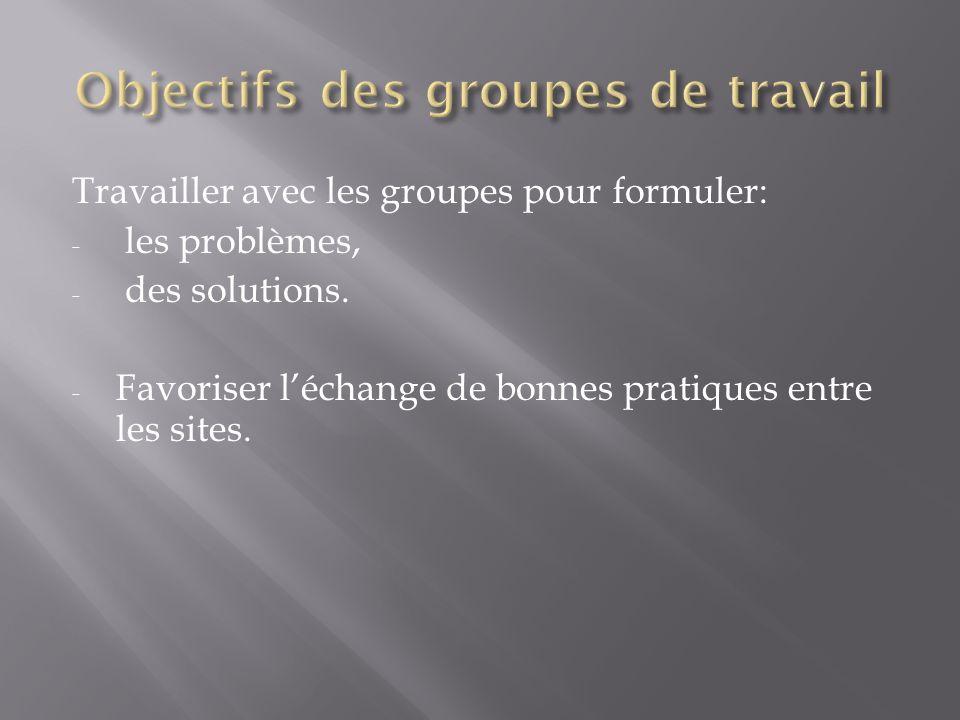 Travailler avec les groupes pour formuler: - les problèmes, - des solutions. - Favoriser léchange de bonnes pratiques entre les sites.