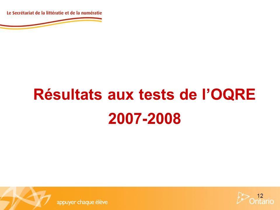 12 Résultats aux tests de lOQRE 2007-2008