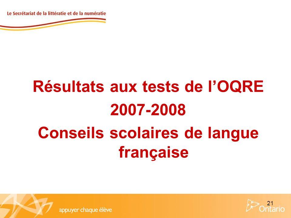21 Résultats aux tests de lOQRE 2007-2008 Conseils scolaires de langue française
