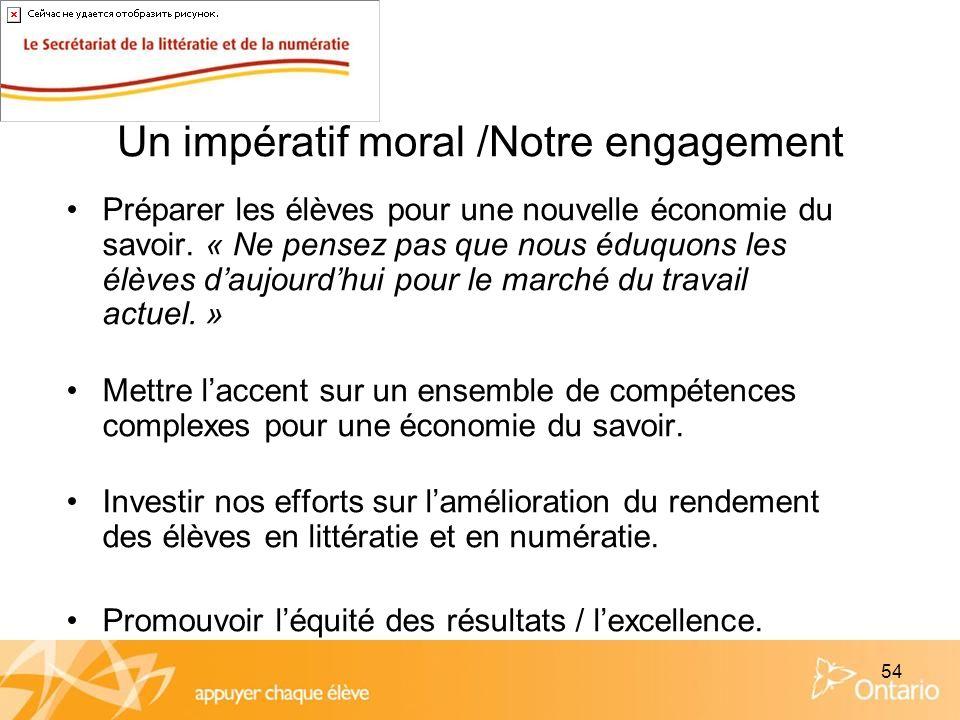54 Un impératif moral /Notre engagement Préparer les élèves pour une nouvelle économie du savoir. « Ne pensez pas que nous éduquons les élèves daujour