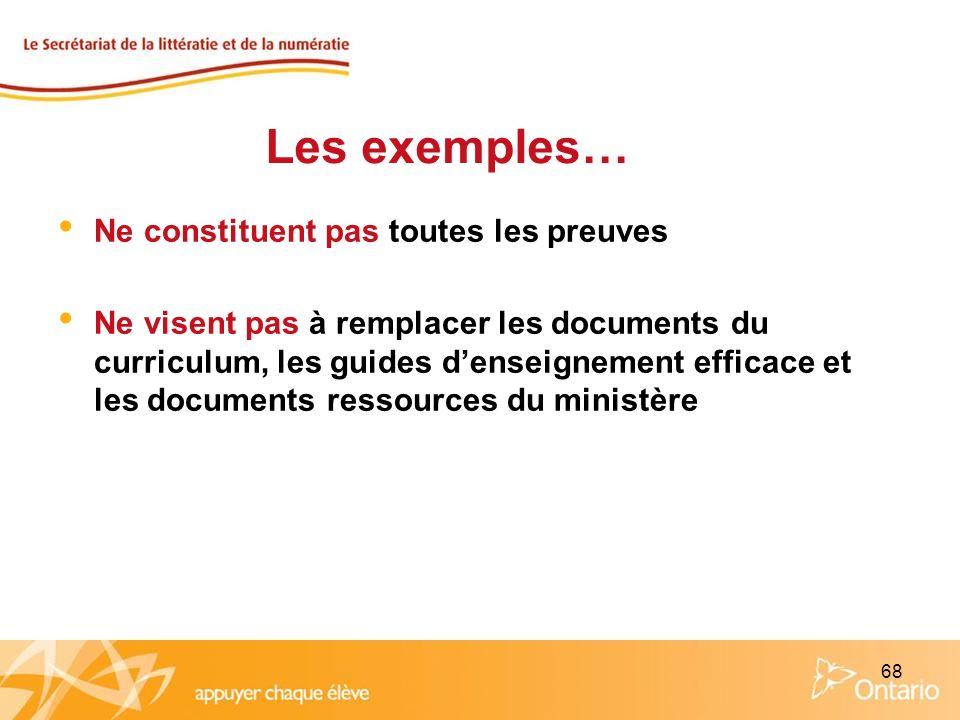 68 Ne constituent pas toutes les preuves Ne visent pas à remplacer les documents du curriculum, les guides denseignement efficace et les documents res