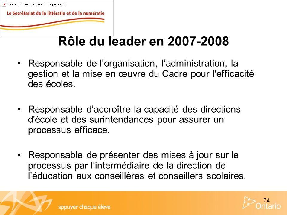 74 Rôle du leader en 2007-2008 Responsable de lorganisation, ladministration, la gestion et la mise en œuvre du Cadre pour l'efficacité des écoles. Re